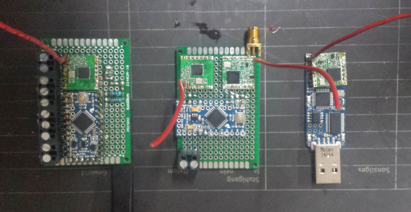 "Three nodes, each running the ""generic"" firmware in different roles."