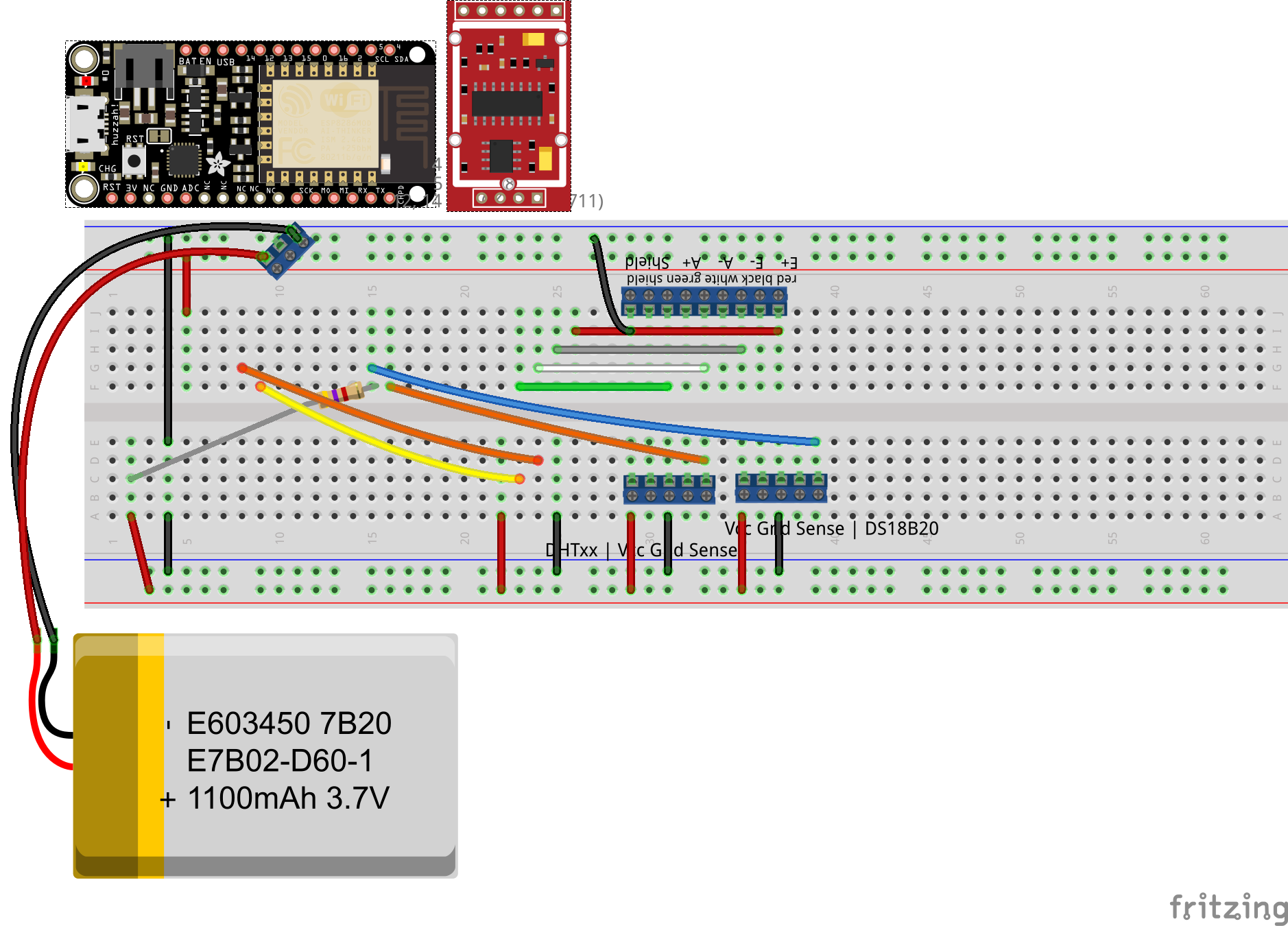 ESP8266 with HX711, DS18B20 and DHT33 on breadboard, bottom view.
